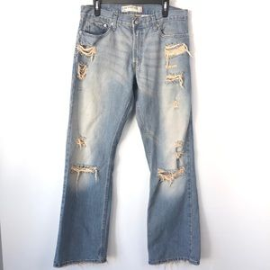 Levis 527 Low Rise Mens Bootcut Distressed Jeans